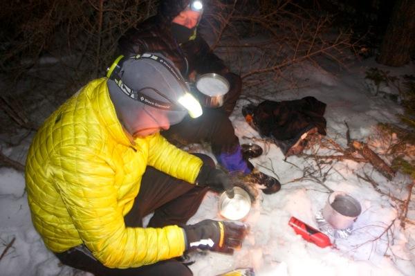 Melting snow to make dinner
